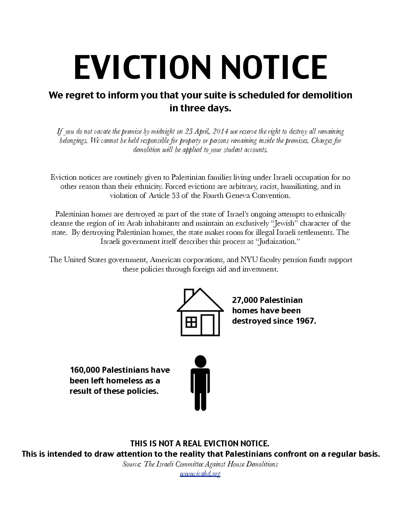 mock eviction notices on